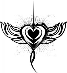 Winged Heart Tattoo Design Free Vector