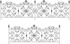 Decorative Wroughtiron Fence Or Railing Free Vector