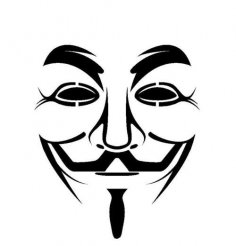 Guy Fawkes mask stencil vector dxf File