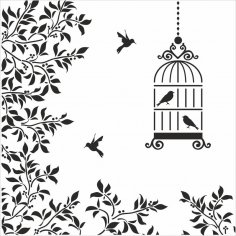 Silhouettes Birds Cage Flowers Illustration Free Vector