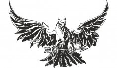 Eagle Attacking Tattoo Design Vector CDR File