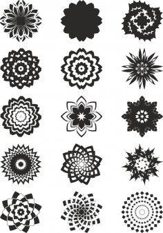 Abstract Flowers Vector Art Free Vector