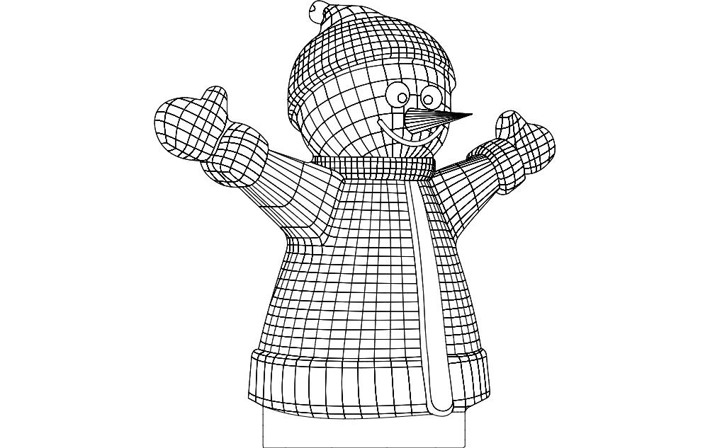 Happy Snowman dxf File