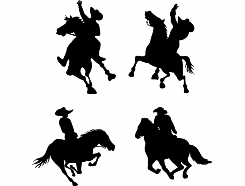 Cowboy On Horse Silhouettes dxf File