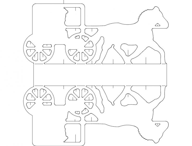 Cavalo E Carruagem dxf File