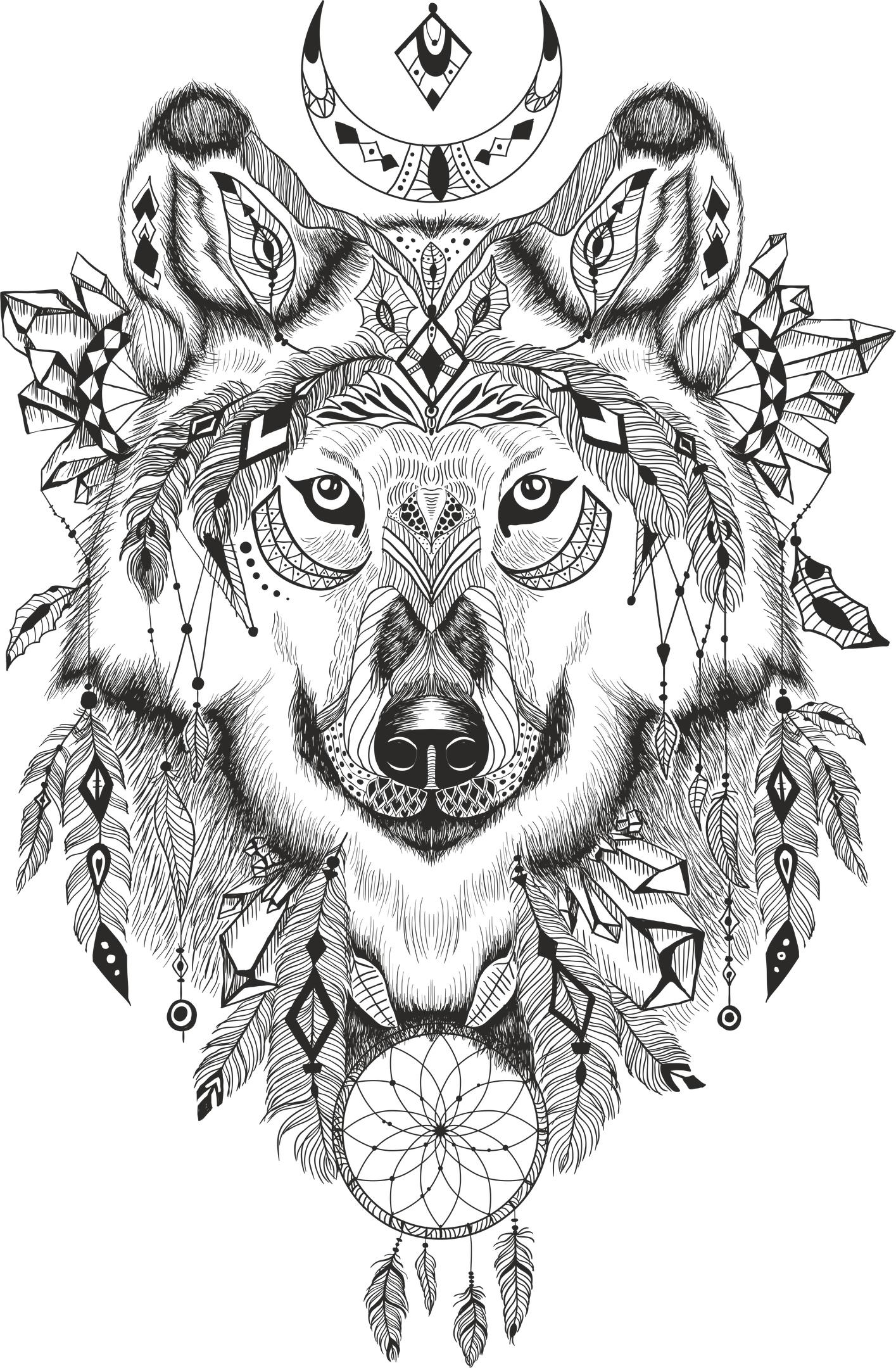 Wolf Dreamcatcher Free Vector