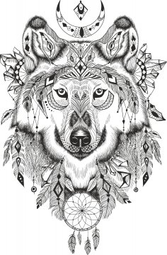 Wolf Dreamcatcher Free Vector
