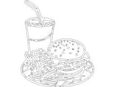 Hambuger Cartoon dxf File