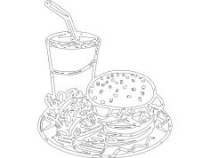 Hambuger Cartoon dxf File