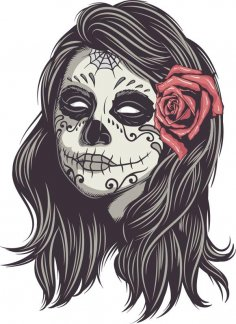 Mexican Skull Woman Vector Art Free Vector