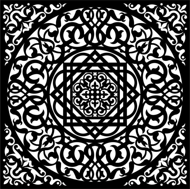 Black White Background Swirly Ornament Seamless EPS File