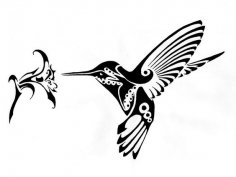 Hummingbird and Flower vector art dxf File