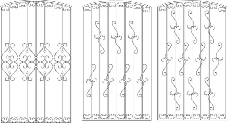 Contemporary Window Grill Design For Home Free Vector