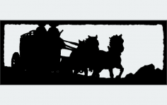 Two Up Horse Drawn Stagecoach dxf File