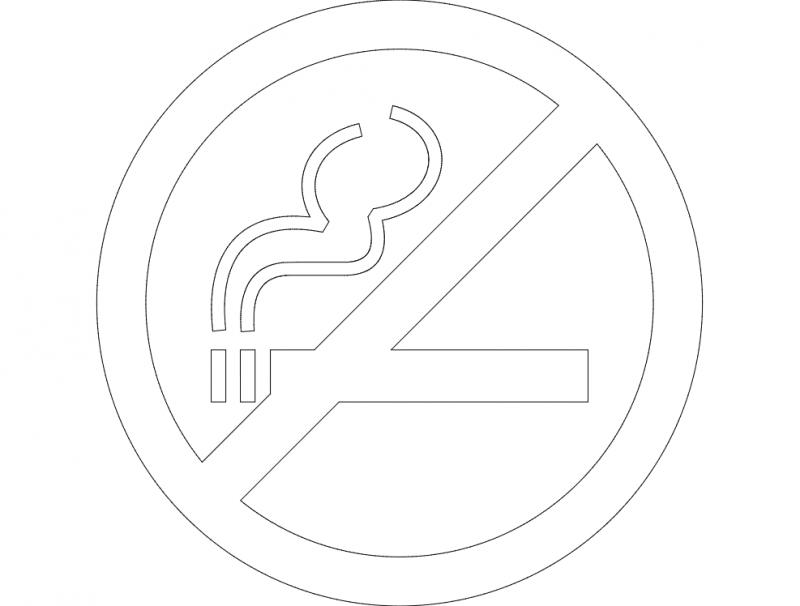 Znak Kurit Zapresheno Neu dxf File