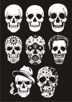 Day of the dead skull vectors Free Vector
