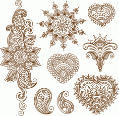 Henna Tattoo Flower Template Mehndi Style CDR File
