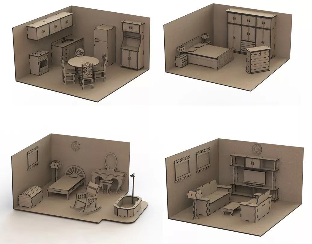 Furniture Set Doll House Mdf Laser Cut Free Vector