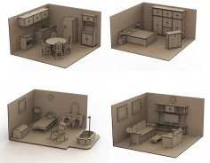 Furniture Set Doll House Mdf Laser Cut Free Vector