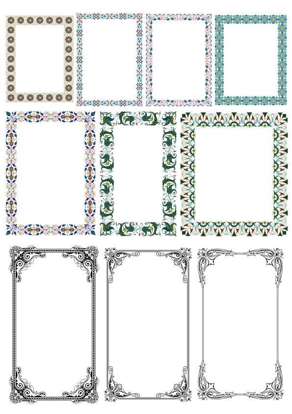 Elegant Decorative Frame Borders Free Vector