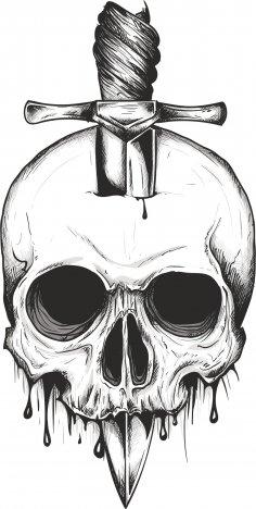 Sword Skull Print Free Vector