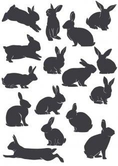 Rabbit Silhouette Vectors Free Vector