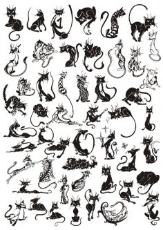 Cats Vector Set Free Vector