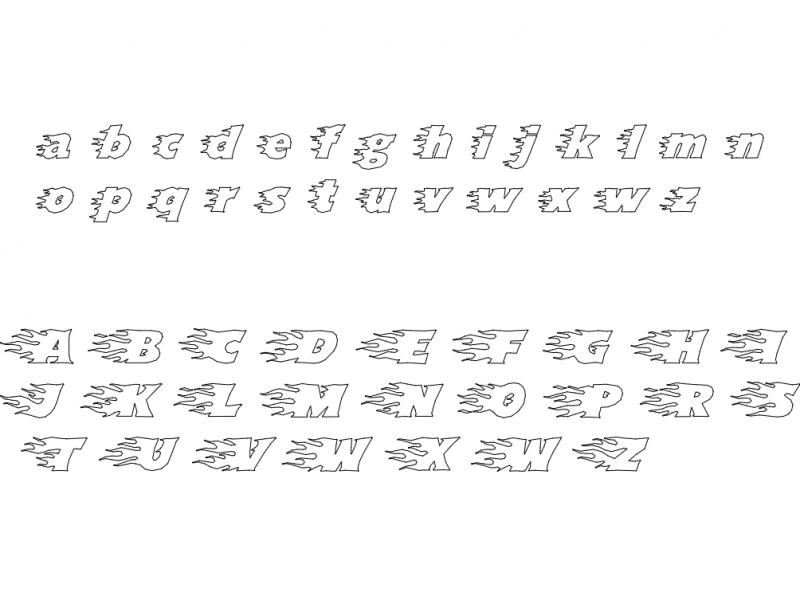 Flames Font dxf File