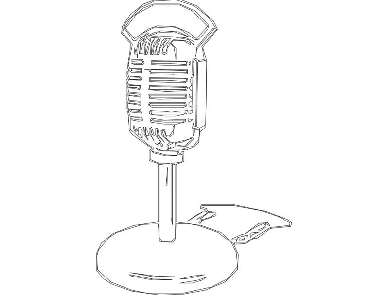 Old Fashion Radio Microphone Hg Wht dxf File