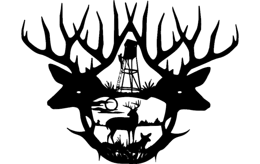 2 Deer Antlers dxf File Free Download
