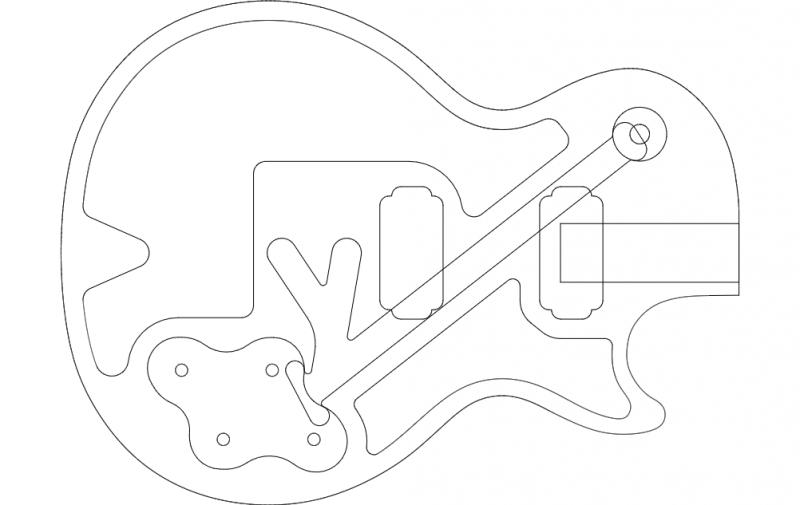Guitar Vector Art dxf File