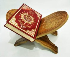 Laser Cut Quran Holder Book Stand Rihal Rehal Wooden CNC Router Carved DXF File