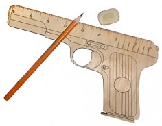 Laser Cut Wooden Gun Shaped Measuring Ruler Free Vector