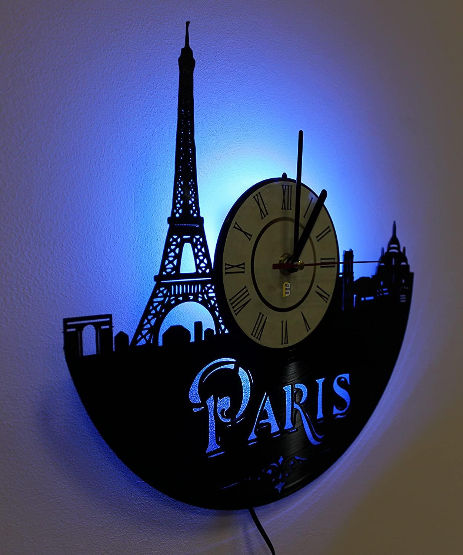 Laser Cut Paris France Vinyl Record Wall Clock DXF File
