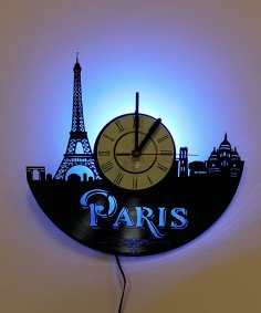 Laser Cut Paris France Vinyl Record Wall Clock DXF File