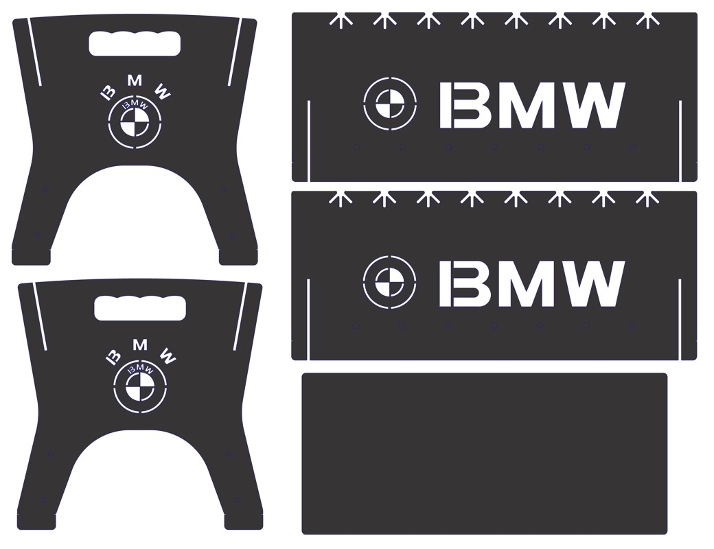 Laser Cut Portable BBQ Grill With BMW Logo DXF File