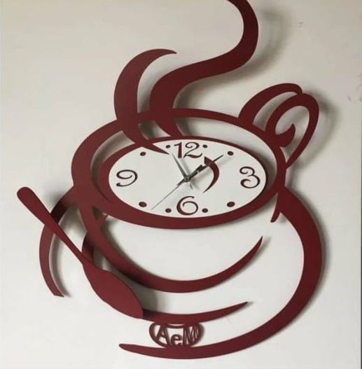 Laser Cut Coffee Wall Clock Free Vector