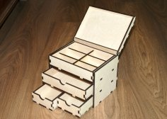 Laser Cut Storage Box With Drawers 6mm Plywood 15x20x15 Free Vector