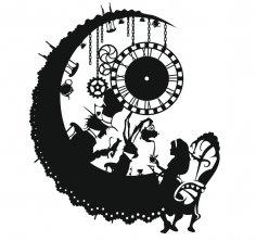 Laser Cut Alice in Wonderland Wall Clock Free Vector