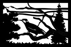 24 X 36 Bird Tree Mountains Metal Wall Art DXF File