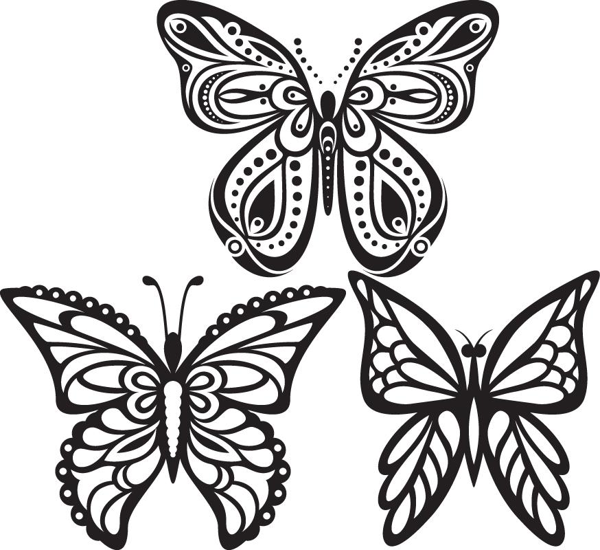 Butterflies Tattoo Vector Free Vector