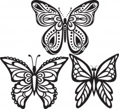 Butterflies Tattoo Vector Free Vector