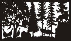 28 X 48 Mountain Lion And Turkeys Plasma Art DXF File