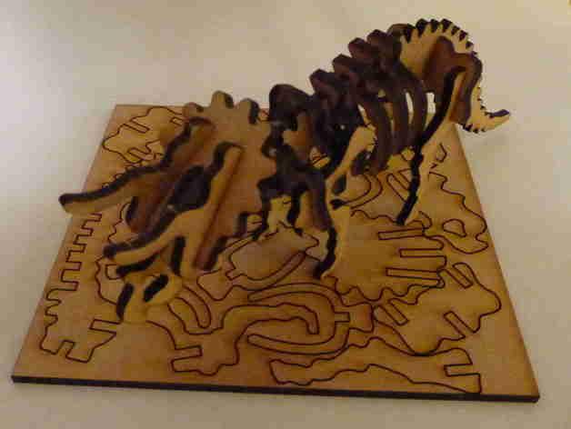 Lasercut Triceratops Skeleton Puzzle DXF File