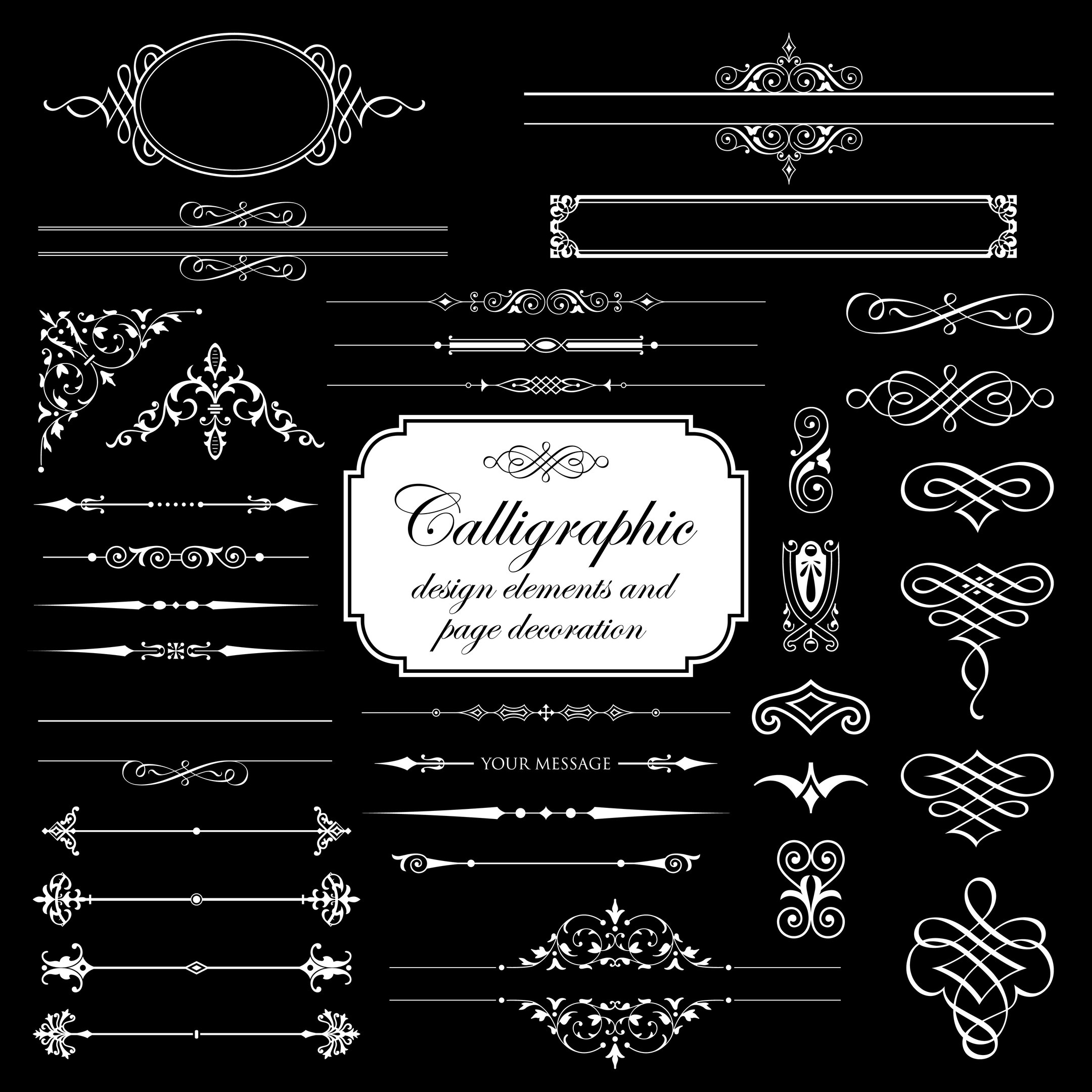 Calligraphic Design Elements And Page Decoration Vector Set Free Vector