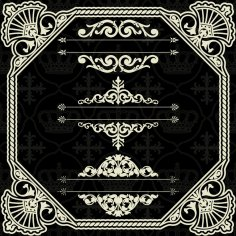 Art Border Frame with Ornaments Free Vector