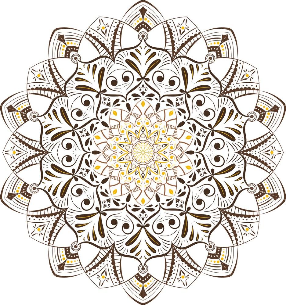 Retro Khaki Mandala Free Vector