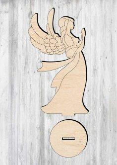 Laser Cut Wooden Angel Ornament Free Vector