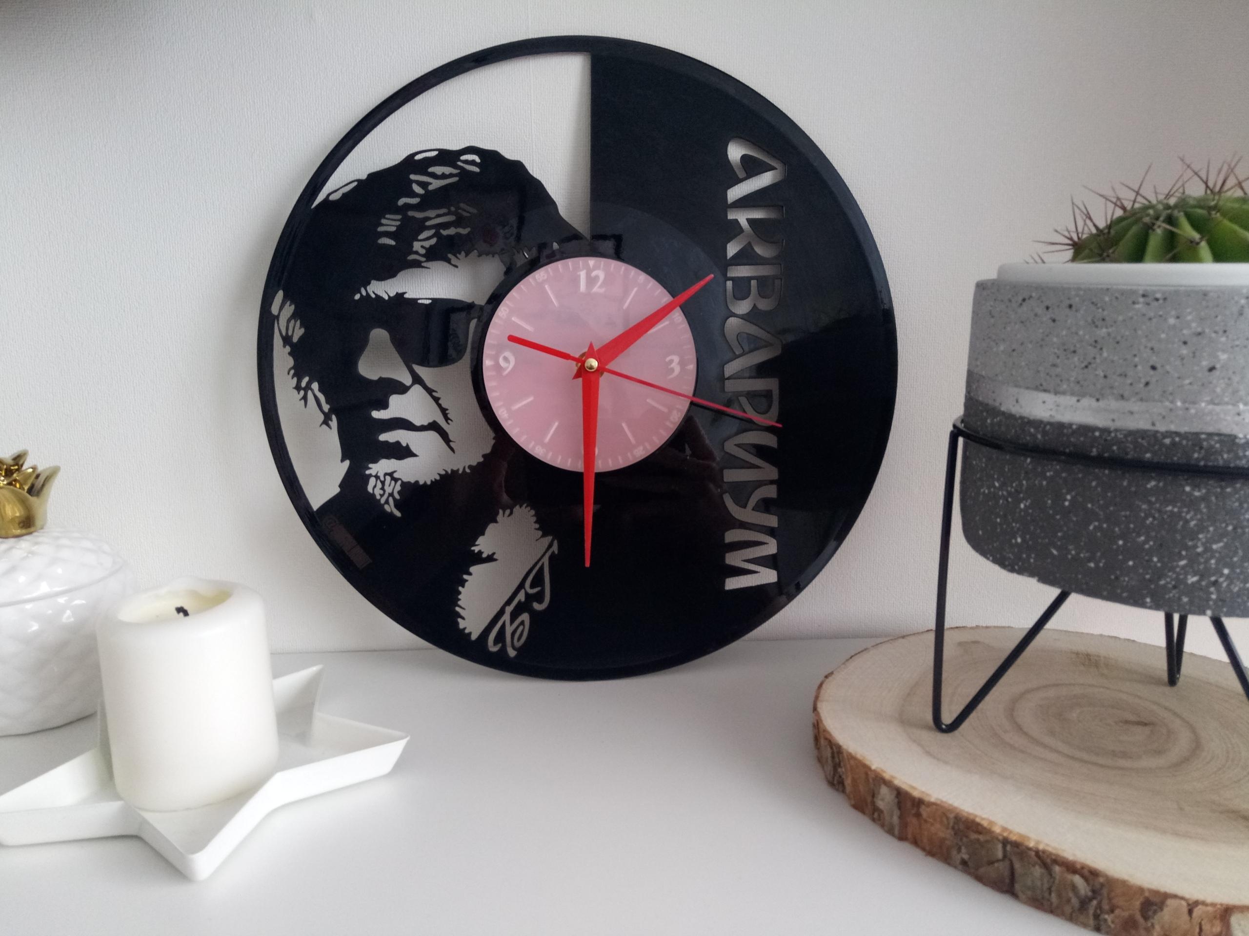 Laser Cut Aquarium Аквариум Russian Rock Band Vinyl Record Wall Clock Free Vector