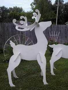 Laser Cut Wood Reindeer Christmas Yard Art Lawn Decoration Free Vector